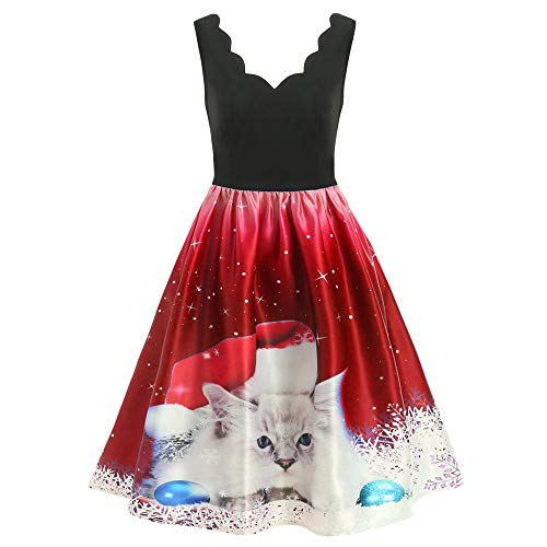 Price comparison product image Gorday Christmas Dresses for Women Sale Ladies Casual Sleeveless Print Midi Dress Fashion Evening Party Cocktail Tunic Dress