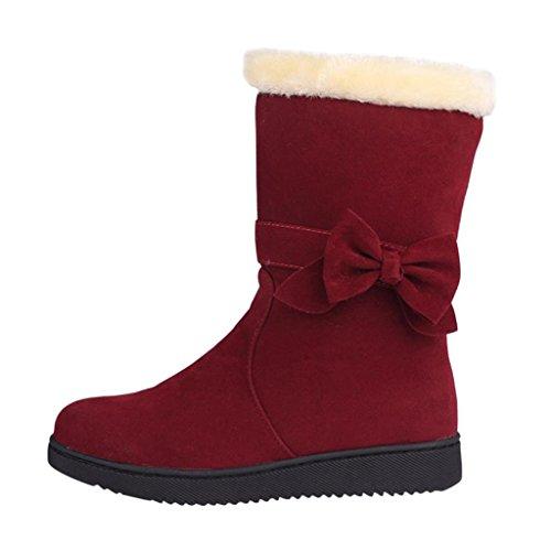 Hee Grand Damen Herbst Winter Kurzschaft Warm Stiefel mit Schleife Kunstpelz Casual Outdoor Elegant Boots Weinrot