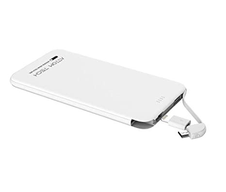 Slim Power Bank Ultra Thin, Attom Tech 5000m Ah 1.0 A Mini External Phone Battery Pack Small Dual Outlet,Emergency Phone Power Backup With Built In Charging Cable (Bright White) by Attom Tech