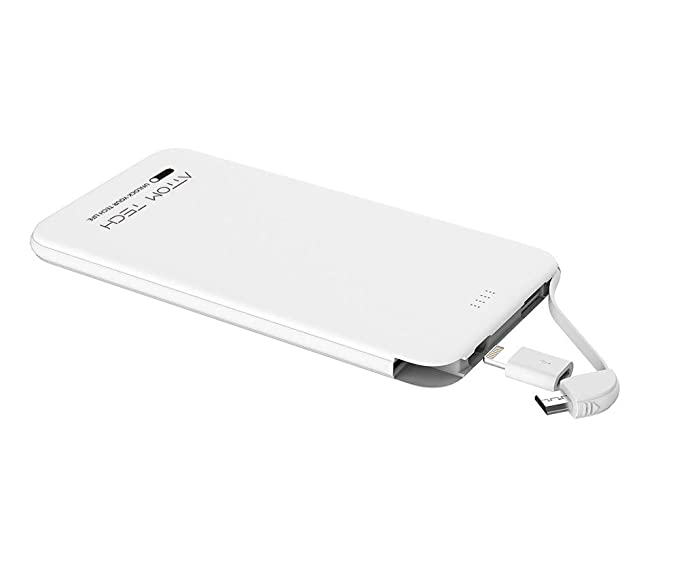 Amazon Com Slim Power Bank Ultra Thin Attom Tech 5000mah 1 0a Mini