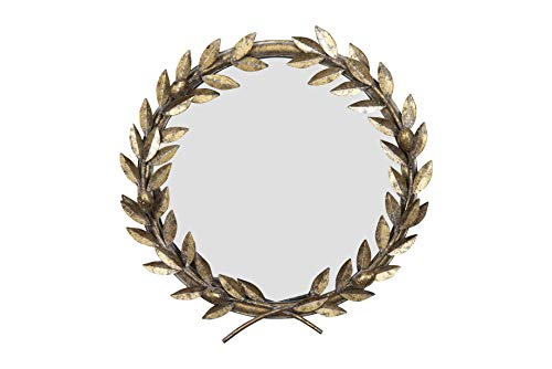 (Creative Co-op Round Antique Gold Metal Laurel Wreath Wall Mirror, )