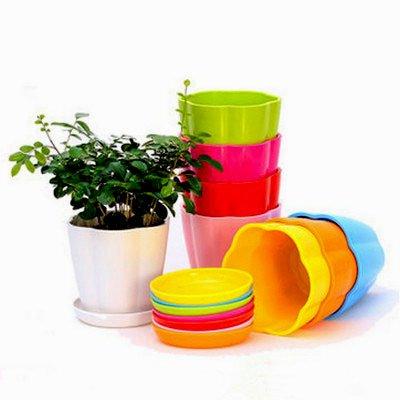 Mecai 4.3 Plastic Flower Seedlings Nursery Pot/Planter/Flower Pot with Pallet 10 Colors,All