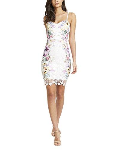 Lipsy Mujer Vestido Tirantes Finos Cuello V Estampado Floral Encaje Love Michelle Keegan Crema