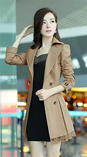 Manches De Printemps Vtements Slim Mode Splicing Oversize Automne Manteau Long Coat Femme Trench Longues Beige Elgante Dentelle Manteaux Revers Fit Transition ftzaqU