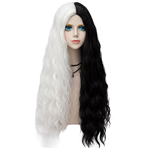 Probeauty Halloween Collection 75cm Mix Color Gothic Long Curly Wavy Ombre Hair Synthetic Cosplay Wig+Cap (75cm Curly Central Part Black Mix White)
