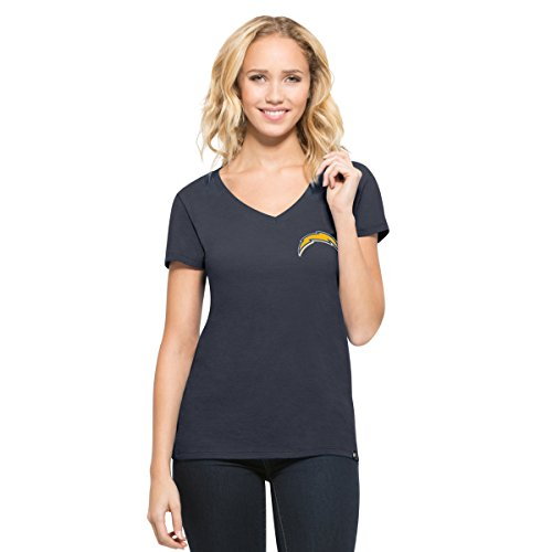 ('47 NFL San Diego Chargers Women's Clutch MVP V-Neck Tee, Midnight, Medium)