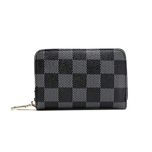 HXQ Women's Mini Zipper Checkered Wallets and Phone Clutch,Wristlet Card Holder Organizer PU Vegan Leather - Louis Vuitton Cream