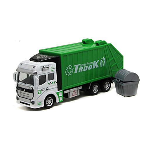 Lomalson Car Toys Push & Go Garbage Truck Car Model toys For Boys Girls Toddlers Children Green/Orange Truck Model Car Diecast Vehicle Toys Chirstmas Birthday Gift (Green) by Lomalson