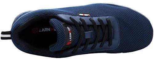 Chaussure de Securité Homme Légères, LM-30 Embout en Acier Respirables Réfléchissantes Chaussures de Travail Bleu