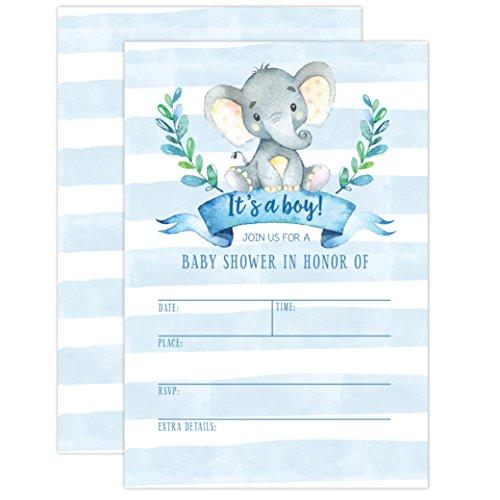 New Boy Baby Shower Invitation Elephant Baby Shower Invitation