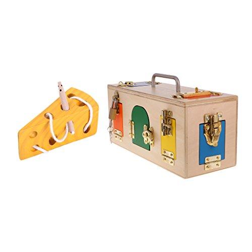 Homyl Wooden Montessori Lock Box & Cheese Maze Early Educational Toy Xmas Gift ()