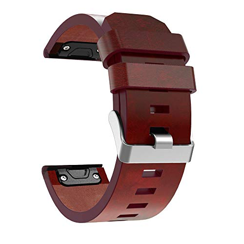 Orcbee  _Leather Sport Watch Band Quick fit Bracelet Straps for Garmin Fenix 5X/5X Plus Brown
