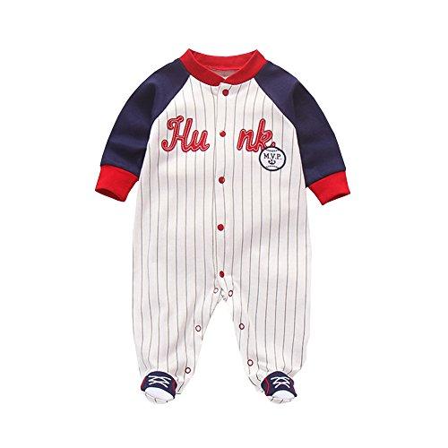 Fairy Baby Newborn Baby Boys Onesie Footed Pajamas Long Sleeve Stripe Sleep and Play Size 9-12M (Navy Blue Baseball) ()