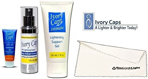 Ivory Caps Skin Whitening Lightening Super Pack 3(ivory Caps Mega Skin Lightening Cream+ivory Caps Intimate Lightening Support Gel +Ivory Sun™ SPF 30 Sun Protection with Skin Lightening Support Elements )