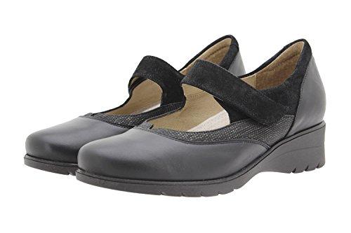 PieSanto Komfort Damenlederschuh 9957 Mary Jane Halbschuhe Bequem Breit Negro