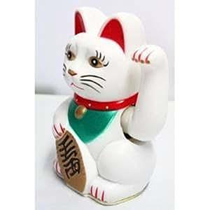 HAAC Maneki Neko - Gato de la suerte (con brazo móvil, 16 cm), color blanco