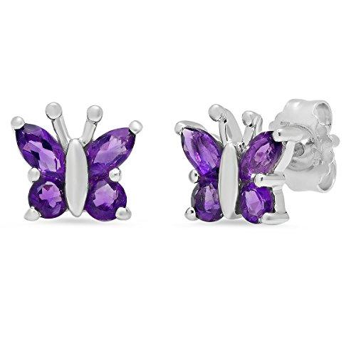 Sterling Silver Amethyst Butterfly Stud Earrings