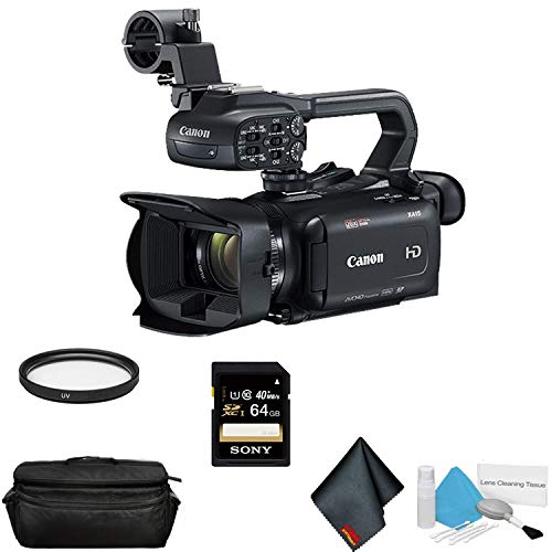 Canon XA15 Compact Full HD Camcorder with SDI, HDMI, and Composite Output Bundle with 64GB Memory Card + More