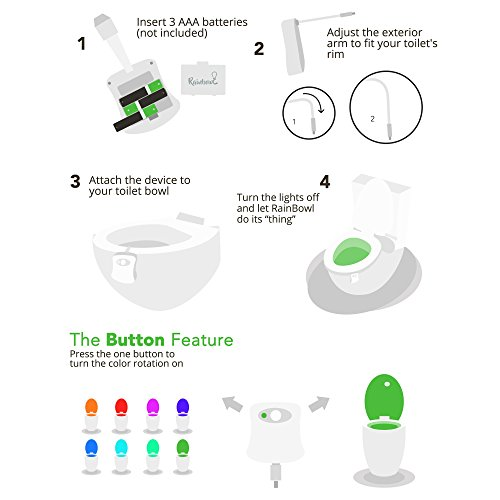 RainBowl Motion Sensor Toilet Night Light – Funny Unique Gift Idea for Him, Her, Men, Women & Birthday Kid – Cool New Gadget, Perfect as a Fun Gag Retirement Present