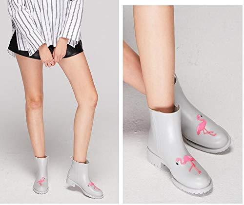 Elegante Moda Botas De Agua Retro Antideslizantes Cartoon Lluvia Zapatos Mujeres Lindo Rainboots Tobillo Pingxiannv Impermeables Mujer EgTwqx0