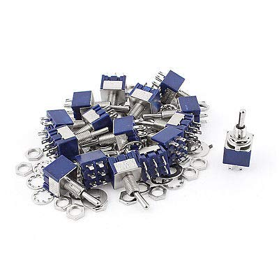 20Pcs AC 125V 6A 6Pin ONOffON 6mm Thread DPDT Locking Mini Toggle Switch bluee MTS203