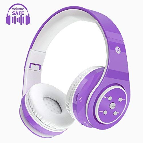 Kids Bluetooth Headphones Wireless Wired Safe Volume Limited Headphones,Long Playing Time 7-9h,SD Card Slot,Stereo Sound,Hands Free Caall,Compatiable for Ipad Cellphone Pc Tablet Purple
