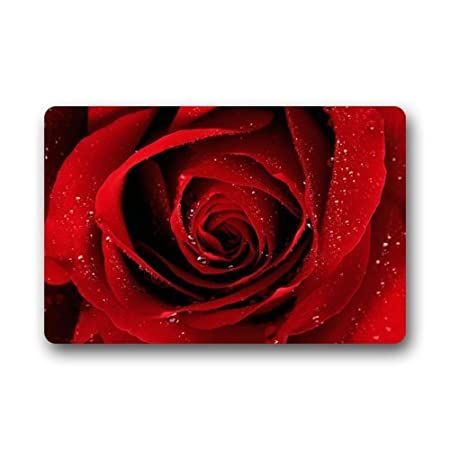 "Fashion Decorative Door Mat Rug Red Rose With Raindrop Flower Floral Pattern Indoor/Outdoor/Floor Doormat 23.6""(L) x 15.7""(W)"