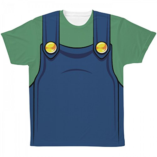Cute Mario And Luigi Halloween Costumes (Green Plumber Costume: All Over Printing Unisex SubliVie Tee)