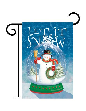 Breeze Decor G164101 Snow Globe Snowman Winter Christmas Decorative Vertical Garden Flag, 13