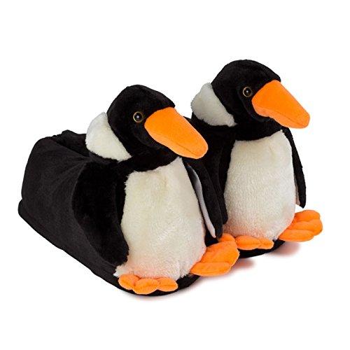 funslippers®, lustige Hausschuhe Tiere Tierhausschuhe Schadstoffgeprüft** Pinguin lustige Plüsch Hausschuhe mit Gummisohle Erwachsene und Kinder