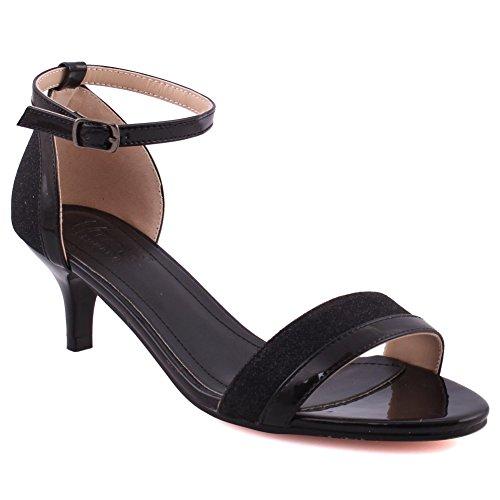 Unze Frauen Marie Toe Strap Formale Kätzchen Ferse Kleid Open Toe Täglich Knöchelriemen Geschlossene Fersenkappe Sandalen Größe 3-8 - 126-27 Schwarz