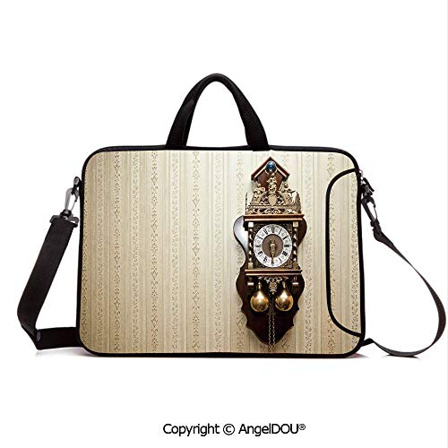 AngelDOU Laptop Shoulder Bag Waterproof Neoprene Computer Case an Antique Wood Carving Clock with Roman Numerals Hanging on The Wall Design with Handle Adjustable Shoulder Strap and External Side - Clock Wall Dimension Camo