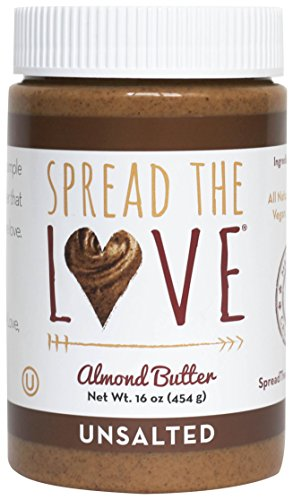 Spread The Love UNSALTED Almond Butter, 16 Ounce (All Natural, Creamy, No added salt, No added sugar, No palm oil)
