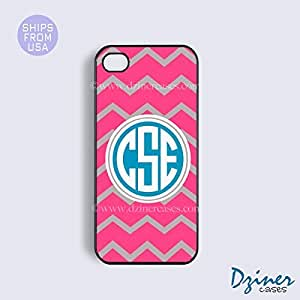 Personalized Your Initials iPhone 4 4s Case - Pink Grey Chevron Blue Circle iPhone Cover