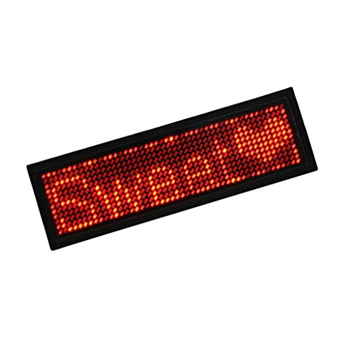 - Almencla Scrolling Name Tag - LED Moving Message Sign, USB Rechargeable LED Badge - Red