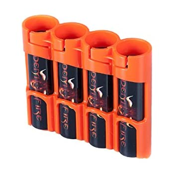 Storacell by Powerpax SlimLine 18650 Battery Caddy, Orange, Holds 4 Batteries