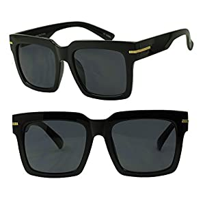 Womens Oversized Large MOD Square Bold Celebrity Fashion Sunglasses (Black / Smoke Lens)