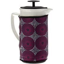 SALE - Ceramic French Coffee Press With Stainless Steel Plunger to Make Fresh Coffee or Tea. Includes a Cosy for Keeping it Warm Longer, 36 oz (White) A lovely gift