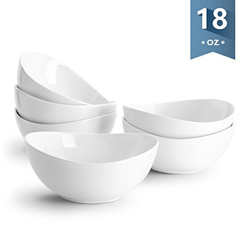 - Sweese 1101 Porcelain Bowls - 18 Ounce (Top to the Rim) for Cereal, Salad, Dessert - Set of 6, White