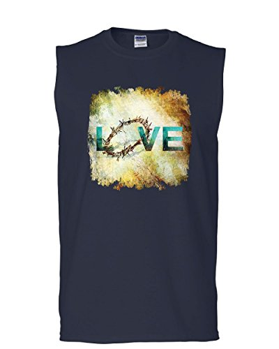 - Tee Hunt Love Crown of Thorns Muscle Shirt Jesus Christ Sacrifice Cross Bible Sleeveless Navy Blue L