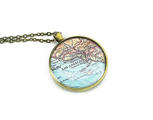Los Angeles map necklace - Long Beach necklace unique party gift ideas (Party City Locations California)