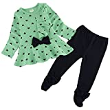 Zeagoo Fall Clothes Baby Girl Cute 2pcs Set Children Clothes Suit Top And Pants , Green , Age ( 2 t )/Manufacturer size 90