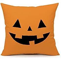 4TH Emotion Yellow Halloween Abstract Pumpkin Home Decor Design Throw Pillow Cover Pillow Case 18 x 18 Inch Cotton Linen for Sofa