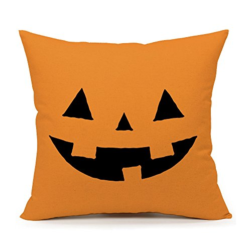 (4TH Emotion Yellow Halloween Abstract Pumpkin Home Decor Design Throw Pillow Cover Pillow Case 18 x 18 Inch Cotton Linen for)