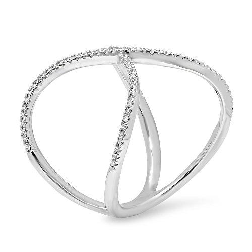 Dazzlingrock Collection 0.30 Carat (ctw) 14K Gold Round Diamond Ladies Wedding Criss Cross X Geometric Fashion Ring 1/3 CT