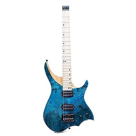 Guitarra eléctrica de 24 trastes de madera de arce maciza color azul ASH: Amazon.es: Instrumentos musicales