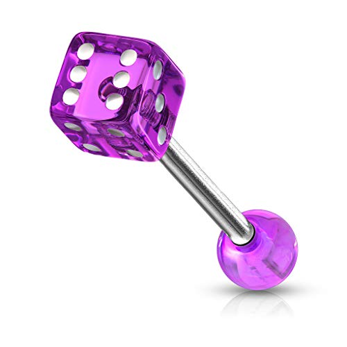 Fifth Cue 14G 316L Surgical Steel Barbell w/ 1x Acrylic Dice End - Purple