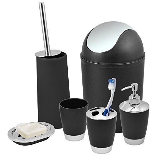 Kabalo Black 6 Piece Bathroom Shower Accessory Set Bath Accessories - Bin, Soap Dispenser & Dish, Toilet Brush, Toothbrush Holder, Tumbler Cup
