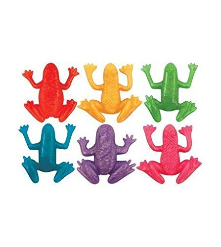 Teeliya ? 6 x Stretchy Frogs ? Neon Colour ? Stretch, Knead & Play ? Rubber Toys ? Party Bag Fillers by Teeliya Toys by Teeliya Toys