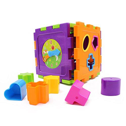Wishland Baby Toys Activity Cube Baby's First Blocks Geometric Square Shape Sorter Cube